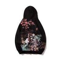 الهيب هوب هوديي هاراجوكو الشارع الشهير الرجال كانجي بلاد العجائب القديمة الصينية اللوحة البلوز الصوف الصوف بلوفر أسود