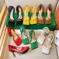 女性のハイヒールのドレスシューズファッションレディースメッシュスクエアトゥスティレットヒールサンダルデザイナー女性ウェディングオフィスパーティーポンプ靴付き箱