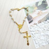 Католический золотой крест белый жемчужный браклет для мужчин женщин религиозные украшения