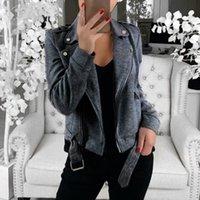 Women's Jackets 2021 Autumn Fashion Jacket Coat Women Casual Solid Turn Down Collar Long Sleeve Zipper Belt Thin Female Outerwear