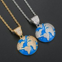 Pendant Necklaces Iced Out Blue Earth Bling Cubic Zircon Necklace For Men And Women Fashion Hip Hop Jewelry Gifts