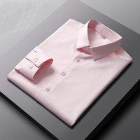 남성 캐주얼 셔츠 Parklees 2021 남성용 솔리드 새틴 핑크 슬림 불철 셔츠 사무실 비즈니스 드레스 캐미사 14Color