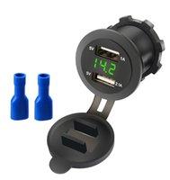 YC-A16 Waterproof Car Motorcycle Cigarette Lighter Dual USB Charger 12V-24V LED Digital Voltmeter Socket Mount Chargers Power Adapter