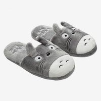 Tofflor Vinter Kvinnor Flat Varm Totoro Animal Plush Kvinna Hem Golv Mode Komfort Skor Par Plus Storlek Skor