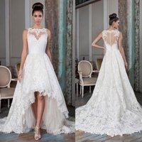 2021 A Line Illusion Bodice Wedding Dresses Hi-Lo Bridal Gowns Plus Size Sleeveless Lace Appliques Coverd Button Vestios De Novia