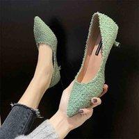 النساء الأزياء ضوء الوزن الأخضر الانزلاق على الخنجر كعوب ل مكتب سيدة الكلاسيكية الصيف البيج حزب أحذية عالية الكعب zapatos G6132 210610