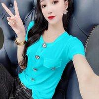 Women's T-Shirt 2021 Summer Luxury Design Button Short Sleeve Feminine Foreign Style Slim Top