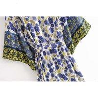 AYALIN KIMONO ROBE Kadın Bluzlar Gömlek Vintage Pamuk Çiçek Baskı Yaz Hırka Boho Beach Bikini Kapak Yukarı Vestidos Tunik