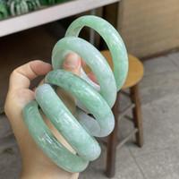 Bangle 100% Real Jade Bracelet Light Green Jadeite Jasper Bangles Wide Adult Women Hand Jewelry Couple