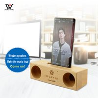 Creative Ornaments Cell Phone Holder Speaker Wood Portable Holders Smartphone Wooden Mini Bracket Amplifier Simple Fashion Style Stand Loudspeaker