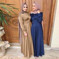 Abbigliamento etnico Abiti Abaya Dubai Turchia Abito musulmano Satin Silky Islam Abayas Donne Vestidos Robe Longue Vetement Femme Musulman de Mode F2639