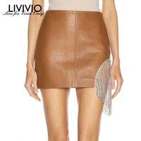 [Livivio] Asimmetrica in cristallo nappa in pelle PU Mini gonne per le donne a vita alta a linea gonna femmina autunno streetwear 210225