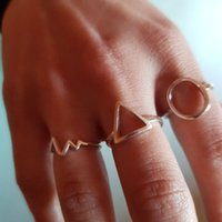 Minimalist Jewelry Silver Color Geometric Rings for Women Adjustable Round Triangle Heartbeat Finger Ring bague femme DFF4661