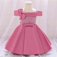 Mädchen Kleider Plbbfz Rosa One Word Neck Bogen Geburtstagskleid für 1 Jahr Baby Mädchen Taufe Brautjungfern Party Hochzeit Prinzessin Prinsel