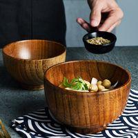 1 stück japanische stil holzschüssel holzreis suppe schüssel salatschüssel lebensmittel behälter groß klein für kinder geschirr holzutensilien