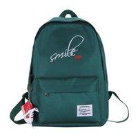 حقيبة الظهر harajuku موجز المرأة السفر التطريز ابتسامة الطلاب في سن المراهقة قماش مزدوج حقيبة الكتف أكياس mochila