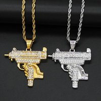 Pendant Necklaces Hip Hop Rhinestones Paved Bling Iced Out Stainless Steel Gun Pendants For Men Rapper Jewelry Drop