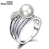 Cluster Rings DreamCarnival 1989 Awesome 5 Layers With White Synthetic Pearl Cubic Zirconia Trendy Party For Women Anillos Mujer WA11491