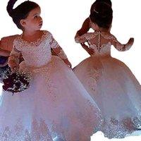 여자의 드레스 화이트 플라워 웨딩에 대 한 흰 꽃 소녀 얇은 명주 그물 공주 레이스 반 소매 거룩한 첫 번째 친교 가운 파티 미인 옷 아이들