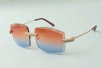 2021 Newest Style Diseñadores de gama alta Gafas de sol 3524022, Lente de corte Diamantes micro pavimentados Templos de alambres de metal Gafas, Tamaño: 58-18-135mm
