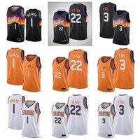 "Jerseys de baloncesto 1 Devin ""Booker 3 Chris"" Paul 22 Deandre ""Ayton Phoenix"" Suns ""Jersey 2021"