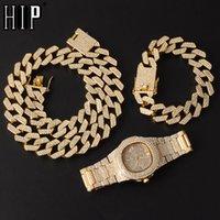 HIP HOP 20MM 3PCS Kit Watch + Ожерелье + Браслет Bling AAA + Ледяные Сплава Гробные Грузовые камни Prong Cuban Link Цепи для Мужчин Ювелирные Изделия