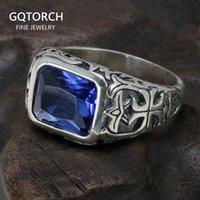Echte reine 925 Sterling Silber Ringe für Männer Blau Natürliche Kristall Türkis Stein Herren Ring Vintage Gravierte Blume Fine Schmuck 210310