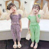 Jargazol Yaz Kızlar Fırfır Kıyafetler Çiçek Ekose Çocuk Giysileri Moda Toppants Sevimli Kore Küçük Kız Giyim Seti 210729