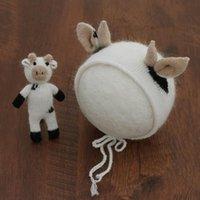 Gorras sombreros 2 piezas bebé tejer vaca sombrero animal muñeca animal hecho a mano crochet mohair gorro nacido pofogry props bonenet