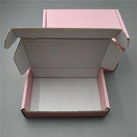 16x8x3cm 10 pcs quadrado caixa ondulada caixa de papelão cor-de-rosa caixa de cartão de pagamento caixas de presente de aniversário 3-camada