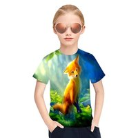 2021 Color fox 3D Print T-Shirts Children Kids Streetwear Funny Cartoon Animal Tees Tops Boys Girls Sportswear Fashion T Shirt Harajuku Clothing