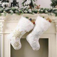 Flanel Pearl Snowflake Snowflake Bas de Noël Sac Candy Cadeaux Noël Cadeaux Chaussettes Arbre de Noël Accrocher Décoration d'ornement JK2010XB