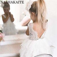 Vestidos de verano de Nashakaite para niña 2020 Ropa para niñas Ropa blanca Princesa Princesa Vestido elegante Ceremonia elegante 3 4 5 años Costo de niña Q0716