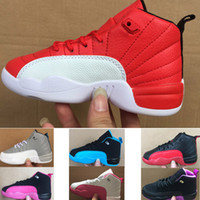 الكلاسيكية 12 السابع رياضة أحذية كرة السلة الأحمر الأطفال الصبي فتاة طفل الشباب الأحذية الرياضية كرة السلة حذاء رياضة الحجم EUR28-35
