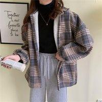 Fleeced Plaid Shirt Jacket for Women Autumn 2021 Long Sleeve Female Coat Lady Clothes Casual Warm Furry Shackets Grunge