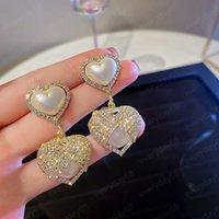 Luxury S925 Pearl Rhinestone Love Heart Dangle Earrings for Women Pendant Fashion High Quality Jewelry Girl Ear Accessories
