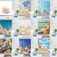 Seestern Conch Duschvorhang blau Meer Strand drucken Wasserdichte Badezimmer Duschvorhänge Polyester Stoff 180 cm Meer Badezimmer Dekor