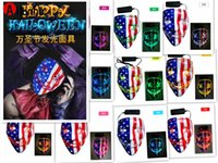 Halloween Mask LED Light Up Glowing Party Funny Masks The Purge Election Year Great Festival Cosplay Costume Supplies Coser face sheild us Flag 4x