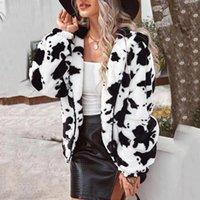 Mulheres com capuz jaqueta de luxuoso outono inverno quente mid-busto vaca impressão de manga longa cardigan zipper casual casaco casaco curto casaco # 40