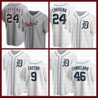 Detroit Béisbol Jersey Tigres Personalizado 24 Miguel Cabrera 23 Kirk Gibson 3 Alan Trammell 47 Jack Morris 9 Willi Castro 27 Zimmermann Al Kaline