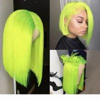 Fluorescent Green Short simulation Human Hair Wigs 613 Red Blue Black Green Purple Pink Wig Ombre synthetic Lace Front Wig for women