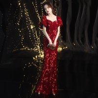 African Sequined Evening Dresses Plus Size Off Shoulder Princess Mermaid Prom Gowns 2020 Red Carpet Long Party Robe De Soiree