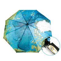 Creativo completo automático tres veces azul mapa paraguas lluvia mujer personalidad plegable ultrafiro sol viajar hombre anti-uv paraguas EWF5388