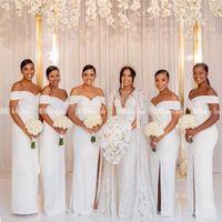 Bridesmaid Dress White Bridemaid Dresses Side Split Off The Shoulder Sheath Wedding Guest For Black Girl Lace Up Back Satin Long Gown