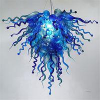 DISEÑO NÓDICO AZUL LANZADELIERS Cadena Colgante Colgante Luces Sala de estar H OTEL Mano Vidrio Vidrio Moderno Arte Moderno Lámpara de araña