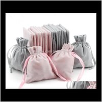 Velvet Jewelry Gift Bags With Cord Drawstring Dust Proof Jewellery Cosmetic Storage Crafts Packaging Pouches For Boutique Retail Shop 8Euhf