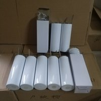 Blanco en blanco 20oz 30 oz sublimación recto cilindro aislado cilindro agua taza bricolaje calor transferencia de calor impresión de doble pared termo bebida tumblers con paja de acero