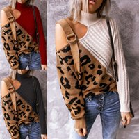 2021Autumn e invierno Sexy irregular de costura Leopardo de leopardo Pullover Tirado alto Hombro de punto Suéter para las mujeres envío gratis
