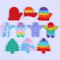 Christmas Fidget Toys Push Bubble Silicone Tie Dye Navidad Niños Santa DecomPresión Juguete Arco iris Guantes de Arco iris Árbol Niños Estrés Relista Decoración del Partido G8351T1