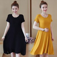 Maternity Dresses Clothes Summer Sleeveless O Neck Chic Solid Color Comfy Loose Stylish Dress For Pregnant Women Pregnancy